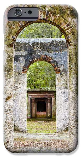 Historic Ruins iPhone Cases - South Carolina Church Ruin Chapel of Ease iPhone Case by Bill Swindaman
