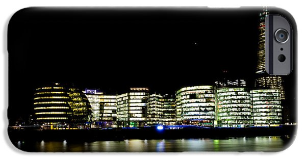 Night Lamp iPhone Cases - Southbank London At Night iPhone Case by David Pyatt