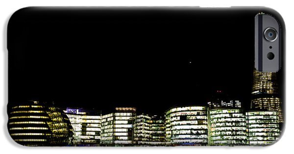 Night Lamp iPhone Cases - Southbank View across the River Thames iPhone Case by David Pyatt