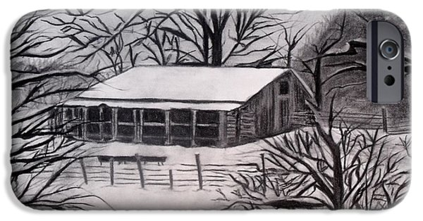 Old Barns Pastels iPhone Cases - Southern Snow iPhone Case by Steve Cochran