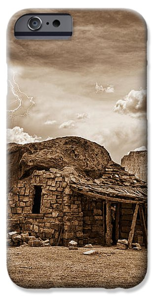Southwest Indian Rock House and Lightning Striking iPhone Case by James BO  Insogna