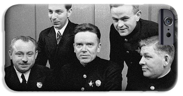 Statue Portrait iPhone Cases - Soviet North Pole-1 Station Crew, 1939 iPhone Case by Ria Novosti