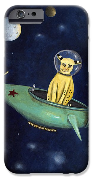 Bobcats iPhone Cases - Space Bob iPhone Case by Leah Saulnier The Painting Maniac
