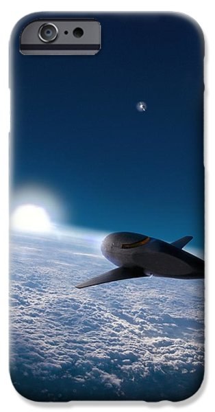 Spaceplane iPhone Cases - Space Plane In Earth Orbit iPhone Case by Richard Kail