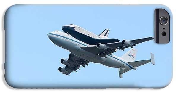 Boeing 747 iPhone Cases - Space Shuttle Enterprise Arrives in New York City iPhone Case by Clarence Holmes