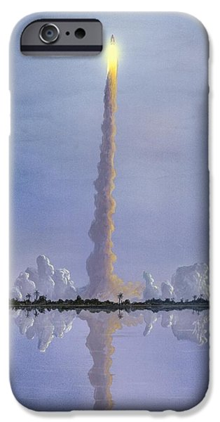 Launching System iPhone Cases - Space Shuttle Launch, Artwork iPhone Case by Richard Bizley