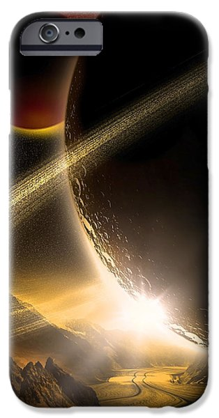 Solar Eclipse Digital iPhone Cases - Space002 iPhone Case by Svetlana Sewell