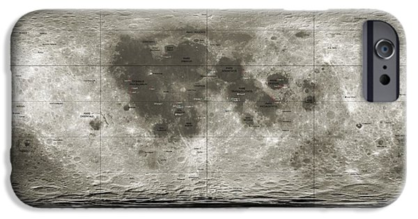 3.14 iPhone Cases - Spacecraft On The Moon, Lunar Map iPhone Case by Detlev Van Ravenswaay