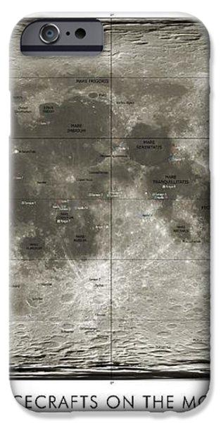 Spacecraft On The Moon, Lunar Map iPhone Case by Detlev Van Ravenswaay