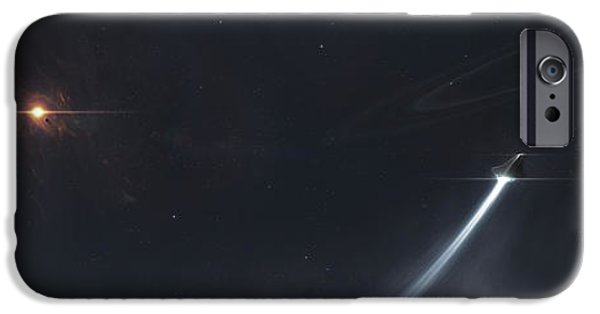 Concept Art iPhone Cases - Spaceship Escaping From A Sun Which iPhone Case by Tomasz Dabrowski