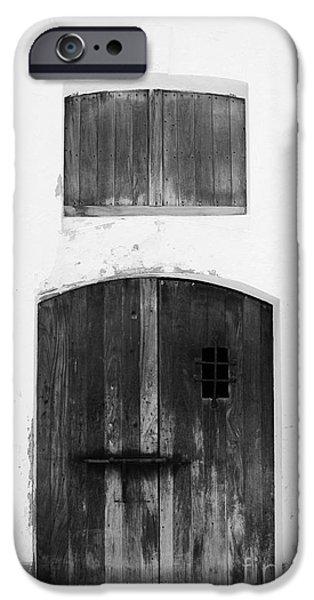 Spanish Fort Door Castillo San Felipe Del Morro San Juan Puerto Rico Prints Black and White iPhone Case by Shawn O'Brien