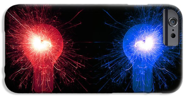 Sparking iPhone Cases - Sparking Light Bulbs iPhone Case by Victor De Schwanberg