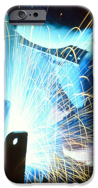 Bonding iPhone Cases - Sparks Flying From An Argon Welder At Work iPhone Case by Chris Knapton