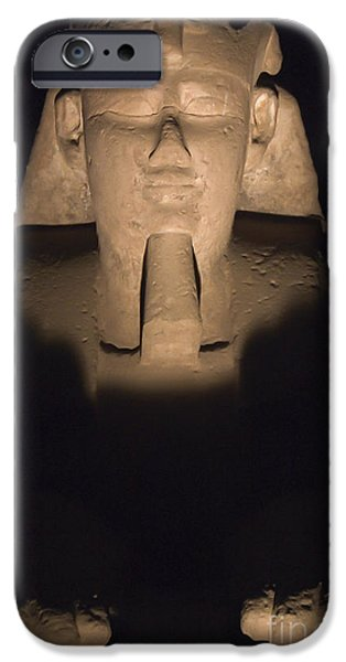 Karnak iPhone Cases - Sphinx at Karnak at Night iPhone Case by Darcy Michaelchuk