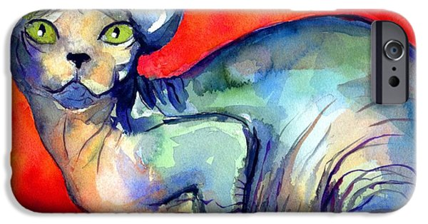 Watercolor Drawings iPhone Cases - Sphynx Cat 6 painting iPhone Case by Svetlana Novikova