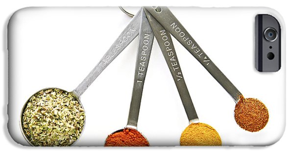 Stainless iPhone Cases - Spices in measuring spoons iPhone Case by Elena Elisseeva