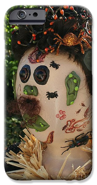 Fall iPhone Cases - Spiderman Scarecrow iPhone Case by Susan Herber