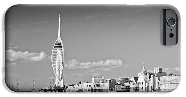 Tall Ship iPhone Cases - Spinnaker Tower and Round Tower Portsmouth BW iPhone Case by Gary Eason