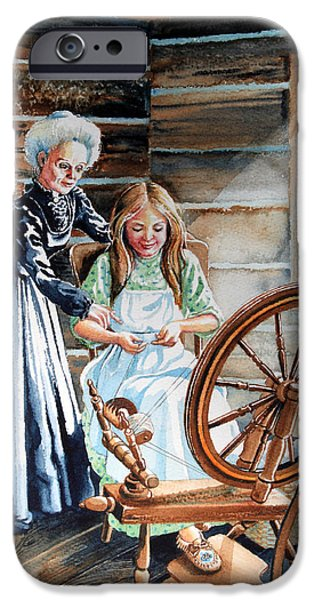 Cabin Window iPhone Cases - Spinning Wheel Lessons iPhone Case by Hanne Lore Koehler