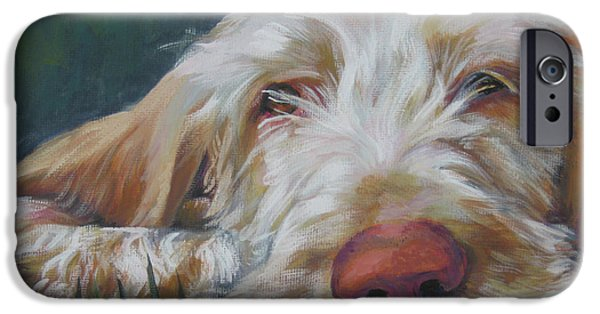 Pups iPhone Cases - Spinone Italiano Orange iPhone Case by Lee Ann Shepard