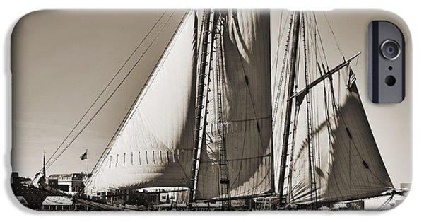 Replica iPhone Cases - Spirit of South Carolina Schooner Sailboat Sepia Toned iPhone Case by Dustin K Ryan