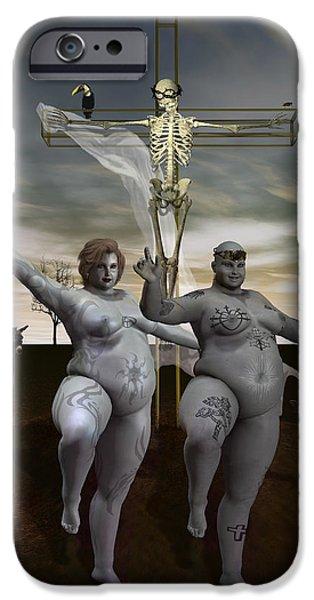 Surreal Illustration Digital iPhone Cases - Spiritual Exercises iPhone Case by Joaquin Abella