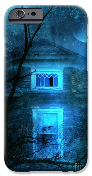 Haunted Houses iPhone Cases - Spooky House with Moon iPhone Case by Jill Battaglia