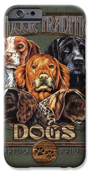 Sporting Paintings iPhone Cases - Sporting Dog Traditions iPhone Case by JQ Licensing