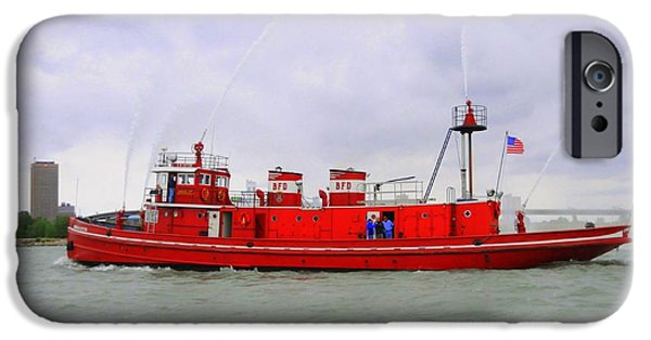 Boat iPhone Cases - Spraying Fire Boat iPhone Case by Kathleen Struckle