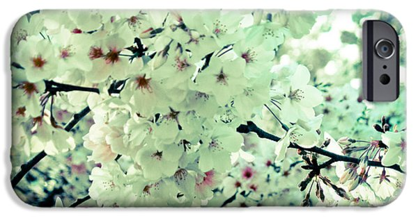 Blooming Pyrography iPhone Cases - Spring Blooms  iPhone Case by Mira Dimitrijevic