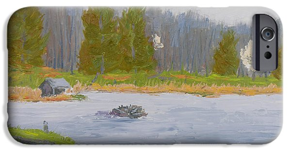 Nature Center Paintings iPhone Cases - Spring Blossoms Beaver Pond iPhone Case by Robert P Hedden