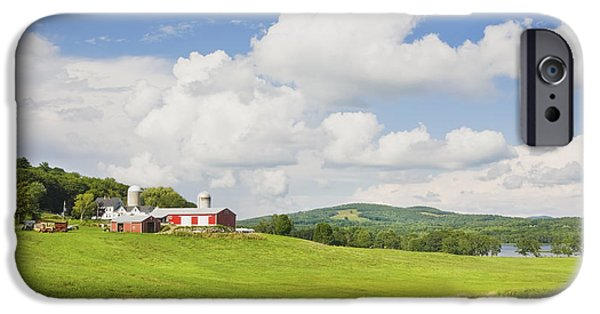 Maine Barns iPhone Cases - Spring Farm And Hay Field With Blue Sky Maine iPhone Case by Keith Webber Jr
