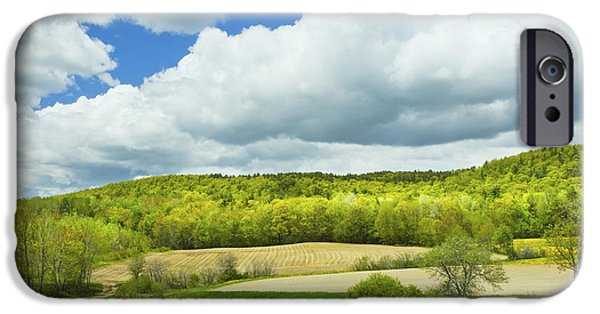 Crops iPhone Cases - Spring Farm Landscape And Blue Sky In Maine iPhone Case by Keith Webber Jr