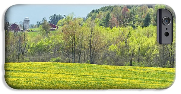 Maine Barns iPhone Cases - Spring Farm Landscape With Dandelion Bloom in Maine Photograph iPhone Case by Keith Webber Jr