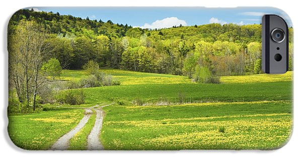 Rural Maine Roads iPhone Cases - Spring Farm Landscape With Dirt Road in Maine iPhone Case by Keith Webber Jr