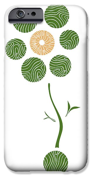 Nature Abstract Drawings iPhone Cases - Spring Flower iPhone Case by Frank Tschakert