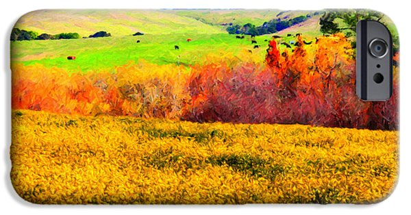 Bodega Bay iPhone Cases - Springtime In The Golden Hills . 7D12402 iPhone Case by Wingsdomain Art and Photography
