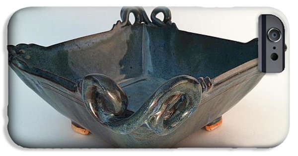 Square Ceramics iPhone Cases - Square Dish with Flourishes iPhone Case by Carolyn Coffey Wallace