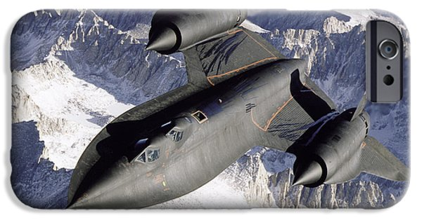 Aerial View iPhone Cases - Sr-71b Blackbird In Flight iPhone Case by Stocktrek Images
