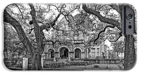 Rainy Day iPhone Cases - St. Charles Ave. Mansion monochrome iPhone Case by Steve Harrington