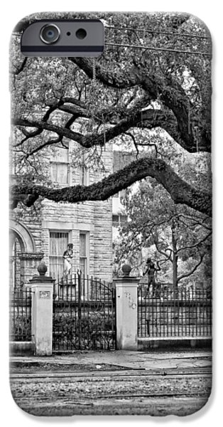 Rainy Day iPhone Cases - St. Charles Ave. monochrome iPhone Case by Steve Harrington
