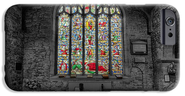 Cemetary iPhone Cases - St Dyfnog Window iPhone Case by Adrian Evans