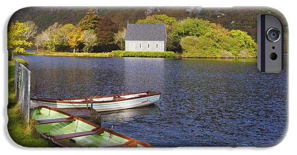 Gougane Barra Church iPhone Cases - St. Finbarres Oratory And Rowing Boats iPhone Case by Ken Welsh