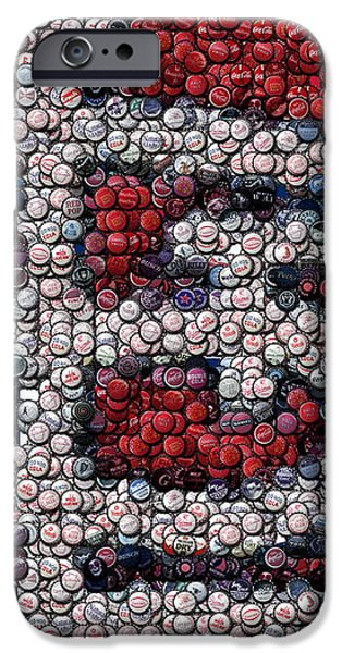 St. Louis Cardinals Bottle Cap Mosaic iPhone Case by Paul Van Scott