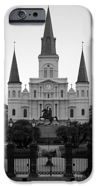 Best Sellers -  - Statue Portrait iPhone Cases - St Louis Cathedral on Jackson Square in the French Quarter New Orleans Black and White iPhone Case by Shawn O
