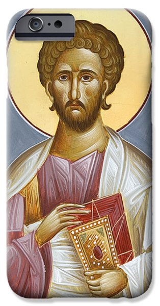 Saint Luke The Evangelist iPhone Cases - St Luke the Evangelist iPhone Case by Julia Bridget Hayes