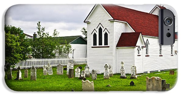 Tombstones iPhone Cases - St. Lukes Church in Placentia Newfoundland iPhone Case by Elena Elisseeva