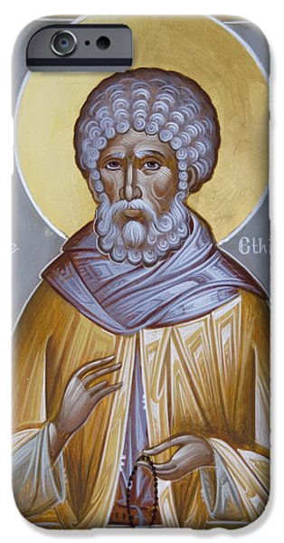 Julia Bridget Hayes iPhone Cases - St Moses the Ethiopian iPhone Case by Julia Bridget Hayes