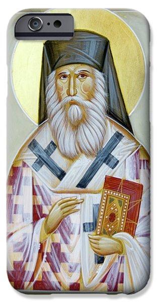 Saint Nektarios Of Aigina iPhone Cases - St Nektarios of Aigina II iPhone Case by Julia Bridget Hayes