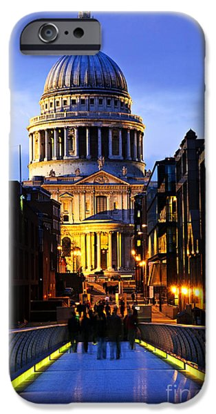 Saint iPhone Cases - St. Pauls Cathedral from Millennium Bridge iPhone Case by Elena Elisseeva